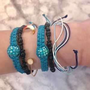 Urban Outfitters Jewelry - Black and Blue Bracelet Set